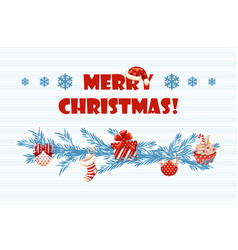 cartoon greeting blue card merry christmas vector image