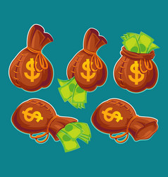 collection of cartoon bags with banknotes vector image