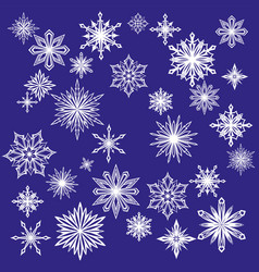 collection of decorative snowflakes set winter vector image