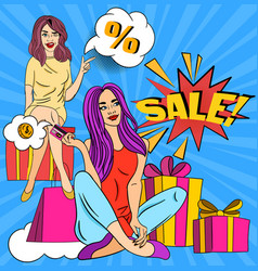 colorful pop art poster design advertising vector image