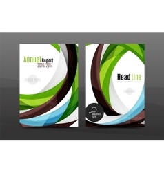 Colorful swirl design annual report cover template vector image