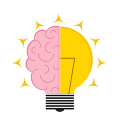 conceptual lightbulb icon with a brain vector image