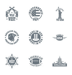 Crazy west logo set simple style vector