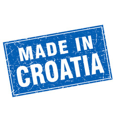 Croatia blue square grunge made in stamp vector