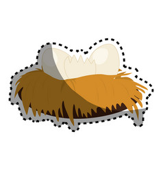 Cute bird nest icon vector