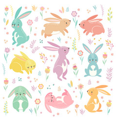 cute bunnies sleeping running sitting lovely vector image