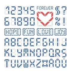 Digital font latin alphabet letters and numbers vector