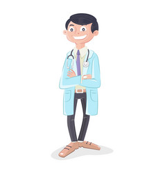 Doctor with stethoscope and uniform standing vector