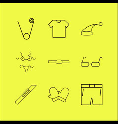Dress and clothes linear icon set simple outline vector