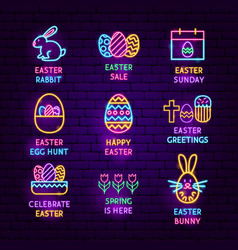 Easter neon label set vector
