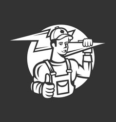 electrician manlogo vector image