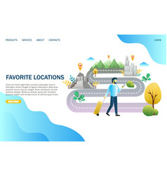 favorite locations website landing page vector image