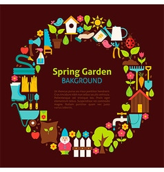 Flat Circle Collection of Spring Garden Objects vector