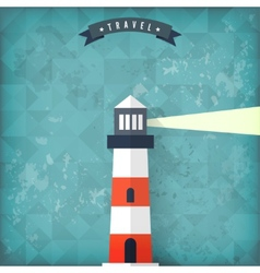 Flat lighthouse on old vintage background vector image