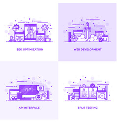 Flat line purple designed concepts 13 vector