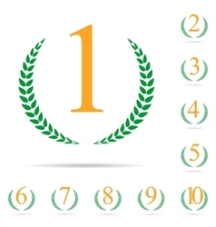 From First to Ten Place Laurel Design Label Set vector