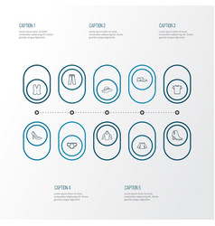 Garment icons line style set with underpants vector