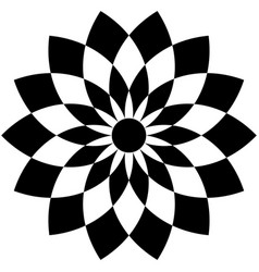 Geometric flower shape with alternating petals vector