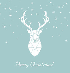 Geometric head of a wild deer merry christmas vector