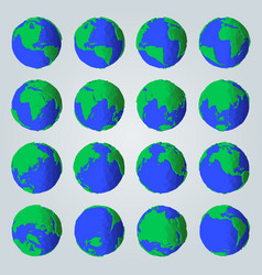 geometric set abstract cartoon style planet vector image