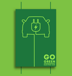 go green and electric car typography minimal vector image