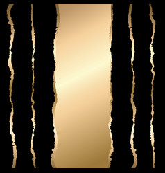 Gold and black torn paper template background vector