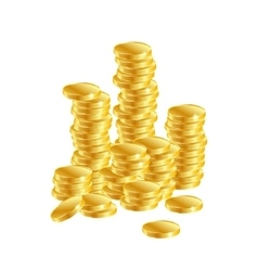 Gold coins columns of gold coins on a white vector