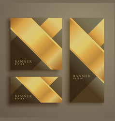 golden premium card set background vector image