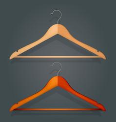 Graphic realistic wooden coat hanger vector