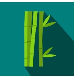 Green bamboo stems icon flat style vector