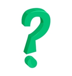 Green question mark icon cartoon style vector