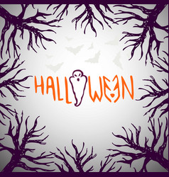 Halloween background hand drawn poster with ghost vector