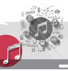 Hand drawn music note icons with icons background vector