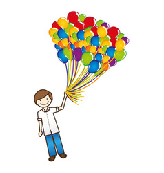 Happy boy with balloons in the hand vector