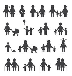 Happy family grandfather grandmother and people vector