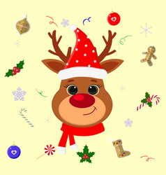 happy new year and merry christmas cute head vector image