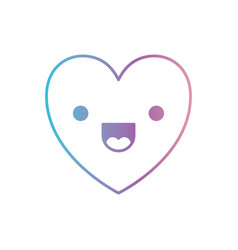 Heart kawaii in jolly expression in degraded blue vector