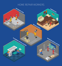 Home repair worker people composition set vector