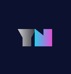initial alphabet letter yn y n logo company icon vector image