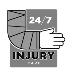 injury care emergency medical service centre grey vector image