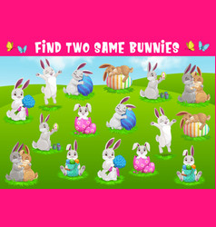 Kids game find two same bunnies puzzle vector