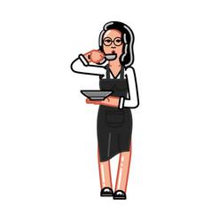 kitchen worker woman vector image