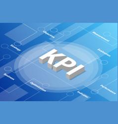 kpi key performance indicator isometric 3d word vector image