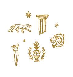 Magical boho clipart greek antique logo or labels vector