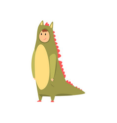 man wearing dinosaur animal costume person in vector image