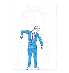 Marionette businessman - line design style vector