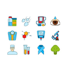 medical icon set various symbols of diabetic vector image