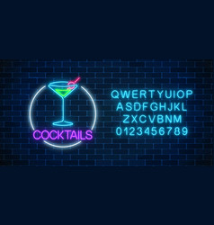 Neon cocktail sign in circle frame with alphabet vector
