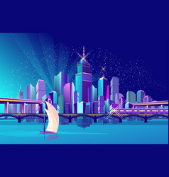 night city by the ocean vector image