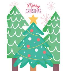 pine tree balls star decoration merry christmas vector image